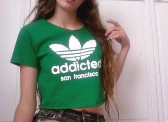 green t-shirt t-shirt shirt green adidas addicted weed san francisco cropped top