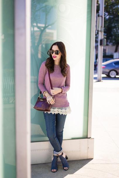 m loves m blogger bag jacket jeans sunglasses jewels make-up