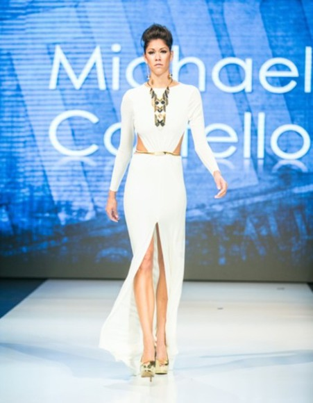 white dress sexy dress cut-out dress long sleeves long sleeve white dress prom dress formal dress slit dress michael costello long sleeve dress Michael Costello white dress, sexy dress, long dress, evening gown, fitted dress prom dresses 2014