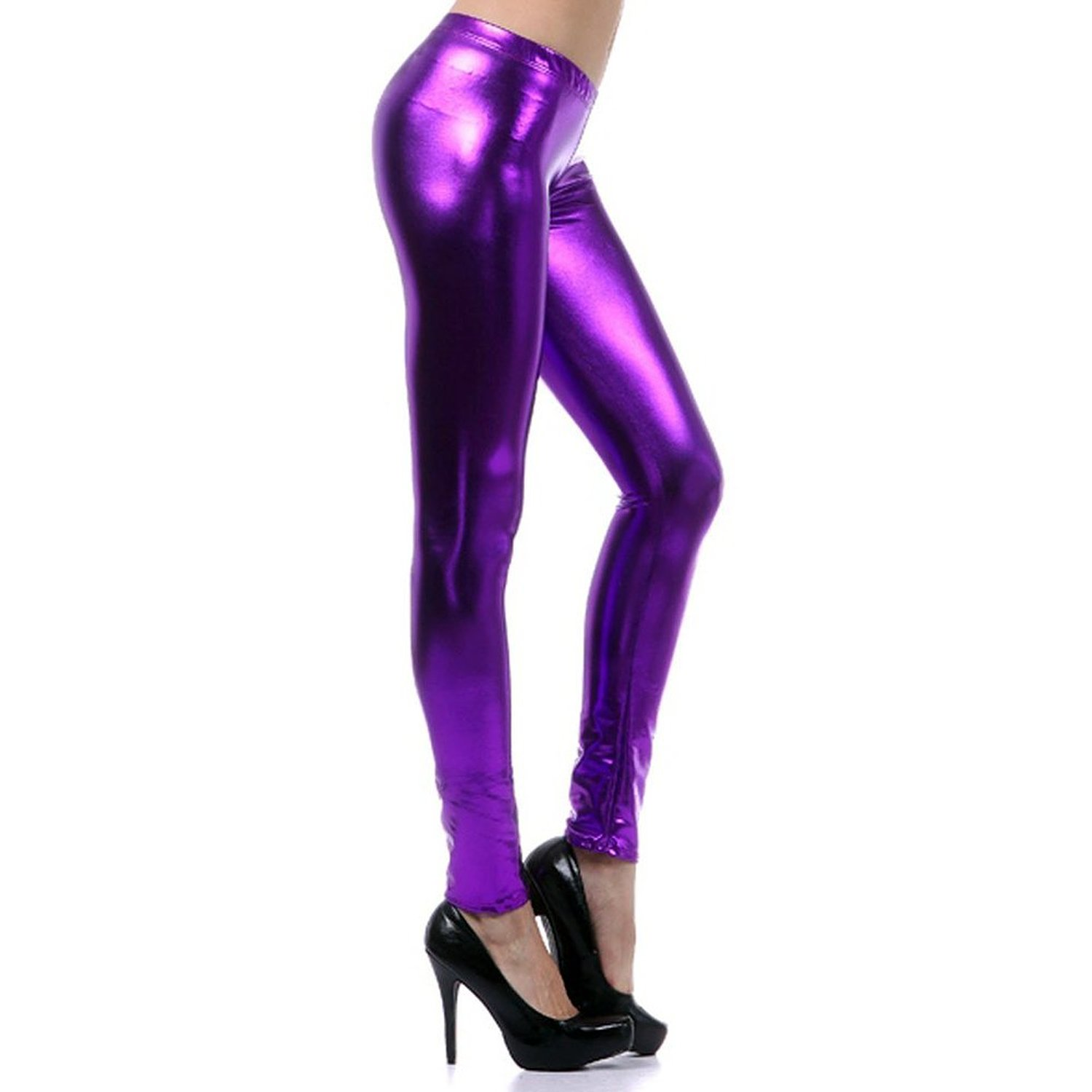 LOCOMO Women Metallic Color Shiny Wet Look PU Leather Legging Purple FFT116PUR, One Size at Amazon Women's Clothing store: Leggings Pants