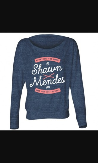 sweater shawn mendes blue sweater long sleeves