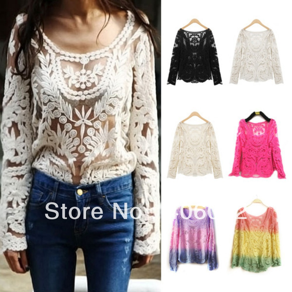 Full Lace Blouse sexy sexo blusas de renda roupas femininas camiseta camisa dudalina ropa mujer fashion women zara2013 moleton-in Blouses & Shirts from Apparel & Accessories on Aliexpress.com