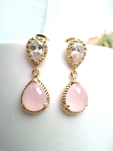jewels pink jewels white stone sparkling jewels gold earrings