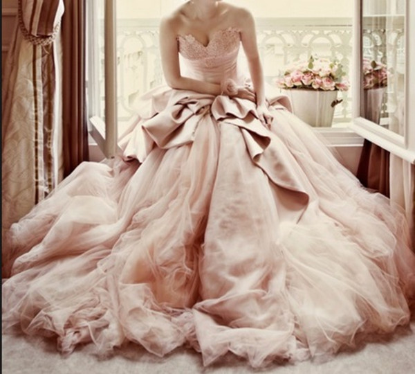 dress wedding dress pink dress big dress blush