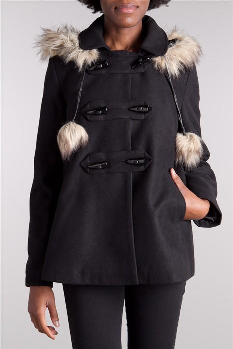 manteau duffle coat fourrure et pompons acheter vestes manteaux blouson parka cache cache. Black Bedroom Furniture Sets. Home Design Ideas
