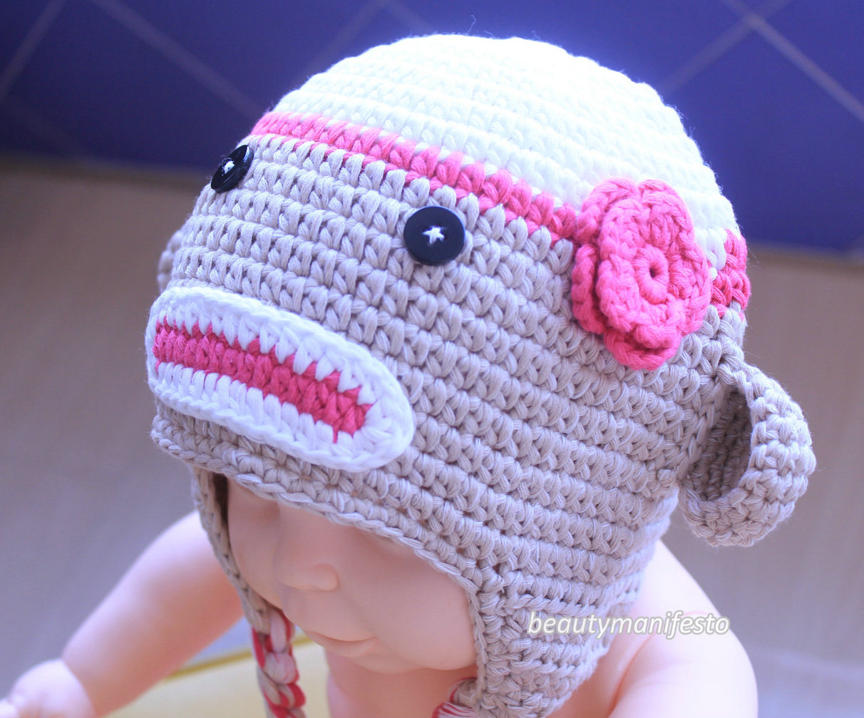 Gray and Pink Sock Monkey Hat c9d45ab74b06