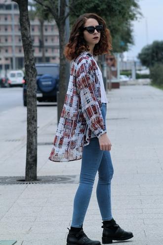 babes in velvet blogger shirt print ankle boots skinny jeans