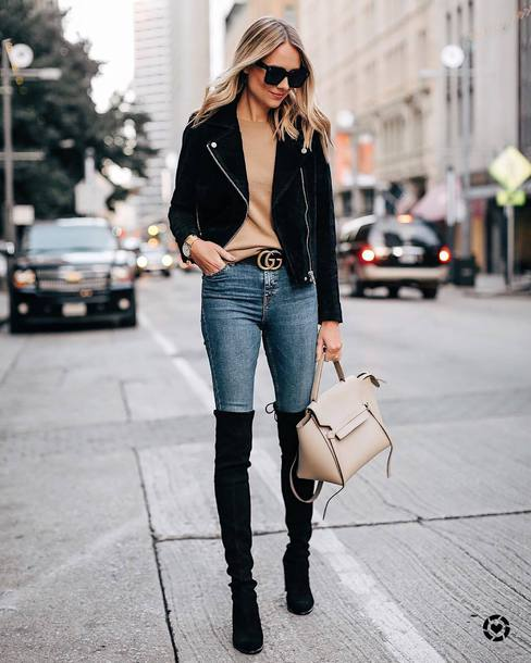 jacket faux fur jacket suede jacket thigh high boots handbag skinny jeans high waisted jeans belt jumper
