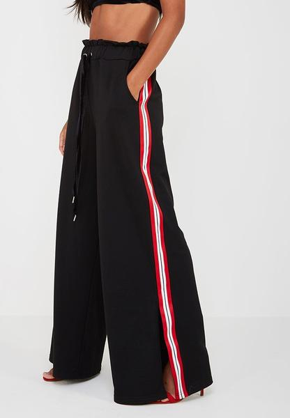 Contrast Stripe Wide Leg Joggers - Black/Red