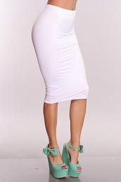 skirt,white,pencil skirt