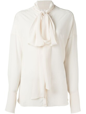 blouse bow women nude silk top