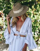 hat,skirt,tumblr,sun hat,straw hat,top,blue top,crop tops,matching set,blue skirt,stripes,striped skirt,bell sleeves