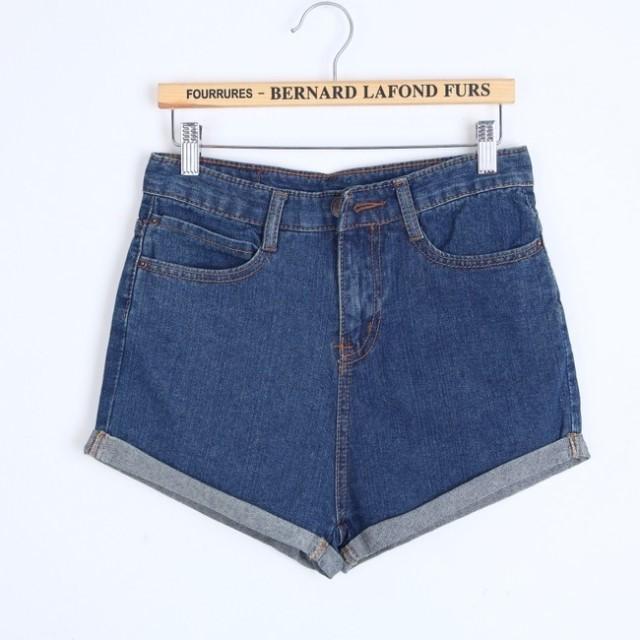 Caliente para mujer retro azul y las niñas de cintura alta la brida orificio lavar los pantalones vaqueros de en de en Aliexpress.com
