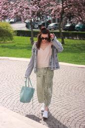 pants,tumblr,green pants,cropped pants,culottes,velvet,cropped velvet pants,wide-leg velvet pants,velvet pants,wide-leg pants,top,nude top,jacket,denim jacket,denim,bag,blue bag,spring outfits