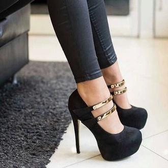 shoes black strap black heels black shoes high heels black heels strappy black heels platform pumps platform high heels round toe silver ankle strap heels stilettos black stilettos