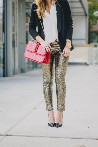 leggings red bag glitter glitter leggings disco leggings pumps pointed toe pumps bag seqiun sequin leggings