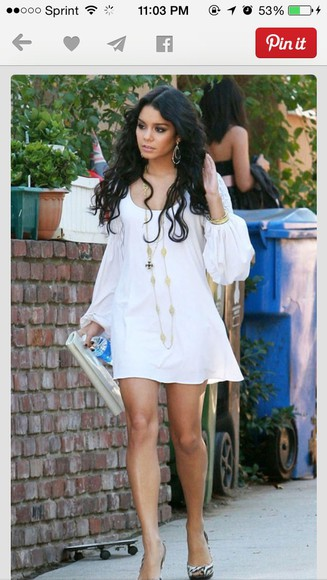 dress vanessa hudgens white dress cute dress long sleeve dress