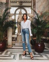 jeans,jeansd,eni,denim,top,white to,white top,shoes,sandals
