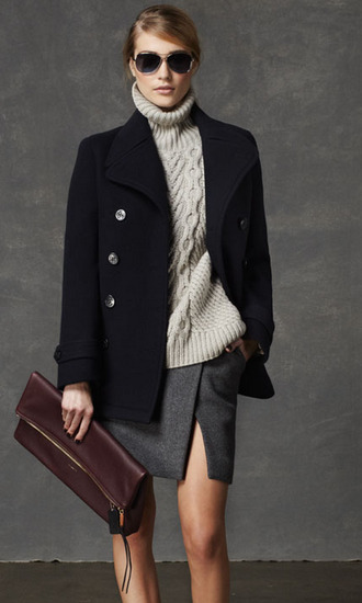 skirt coach lookbook fashion coat sunglasses bag sweater pea coat knitted sweater elegant