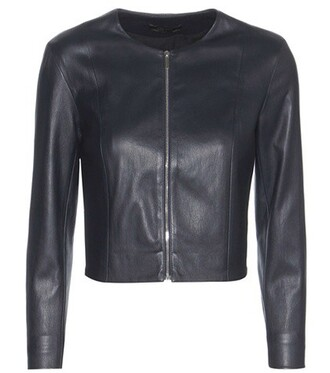 jacket leather jacket cropped leather blue