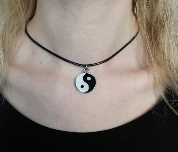 Yinyang choker by steelrosejewelry on Etsy