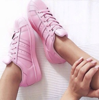 shoes pink adidas outfit fashion style ootd girly girl adidas superstar white baby girl shoes pastel sneakers