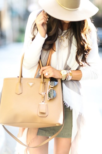 bag prada bag cream white sun hat sunglasses forest green mini skirt classy preppy jewelry bohemian j crew casual mens watch long sleeves