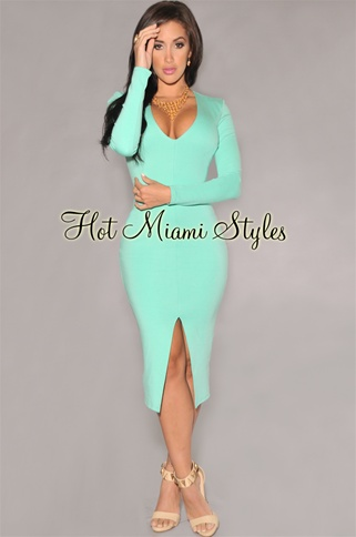 Mint slit front midi dress