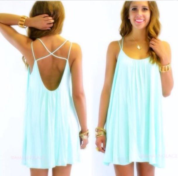 dress casual dress tiffany blue aqua dress summer dress mint dress swing cami dress tiffany blue dress little blue dress sundress