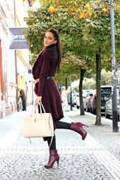 leona meliskova,blogger,cardigan,belt,shoes,bag,jewels,ankle boots,burgundy,burgundy sweater,boots
