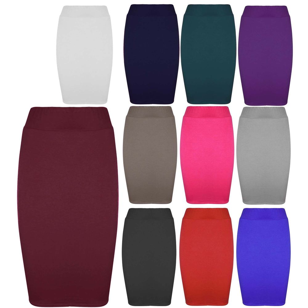 Womens Jersey Stretchy Ladies Pencil Plain Office Bodycon Skirt Plus Sizes 8-26 | eBay