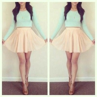 skater skirt mint peach strappy shoes crop tops high waisted skirt chiffon skirt shirt pastel mini high low dress flare skirt girly light cream tumblr cute lovely jacket long sleeve mint green