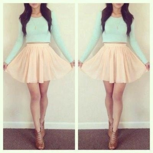 skater skirt mint peach strappy shoes crop tops high waisted skirt chiffon skirt shirt long sleeve mint green