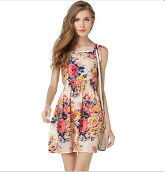 dress print summer dress floral mini dress floral dress multicolor