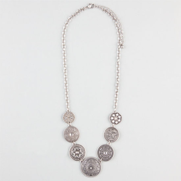 jewels etched disc necklace full tilt