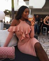 dress,pink dress,chic dress,chic,glamour,luxe,lush,sexy dress,girly,pink,ruffle dress,cold shoulder dress