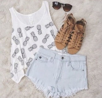 shirt pineapple tee white grey shoes shorts sunglasses