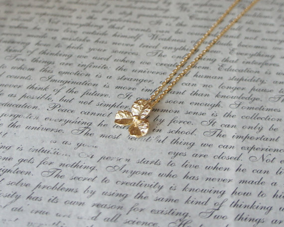 16K Gold Plated Minimalistic Short Necklace / Gold Tiny Flower / Thin Chain / Diamond Chain / Little Clover