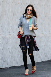 fit fab fun mom,blogger,sweater,jeans,shirt,scarf,shoes,bag,sunglasses,jewels,jacket,grey top,grey sweater,mini bag,aviator sunglasses,black jeans,ripped jeans,skinny jeans,flats,flannel shirt,valentino rockstud