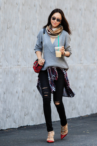 fit fab fun mom blogger sweater jeans shirt scarf shoes bag sunglasses jewels jacket grey top grey sweater mini bag aviator sunglasses black jeans ripped jeans skinny jeans flats flannel shirt valentino rockstud