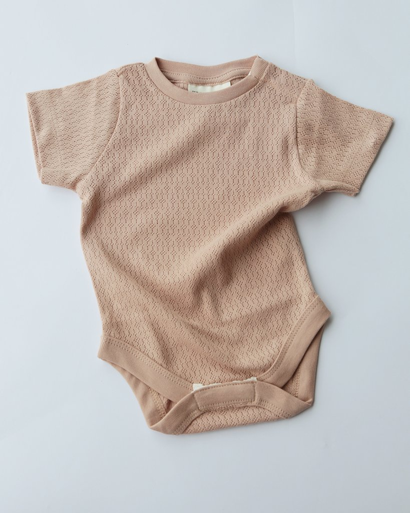 pointelle short sleeve tee bodysuit - dusty rose