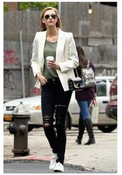 top,jacket,blazer,karlie kloss,spring,spring outfits,ripped jeans,jeans,black jeans,white blazer,aviator sunglasses,mini bag,black bag,white sneakers