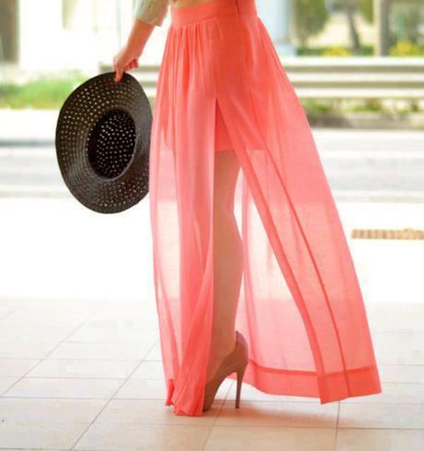Skirt: maxi skirt, slit maxi skirt, chiffon, chiffon skirt, coral ...