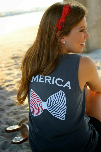 america shirt white red blue tank top