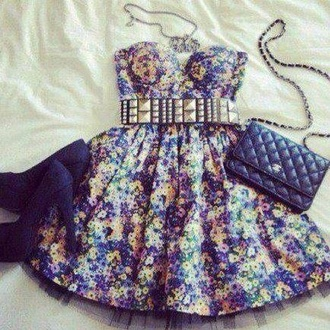 dress floral blue yellow purple purple floral yellow floral blue floral summer dress spring dress floral dress black belt black heels strapless dress bustier tulle skirt shoes bag black :)