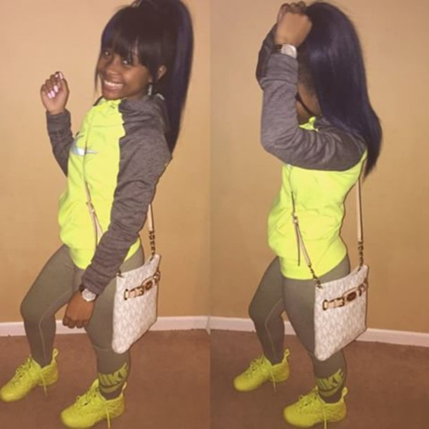 shoes lime lime shoes lime green sneakers amourjayda jayda nike shoes bright leggings jacket nike leggings nike jacket lime and grey sweater pants