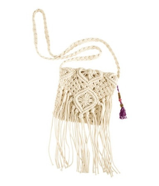 Bag: white, fringes, crochet, crossbody bag - Wheretoget