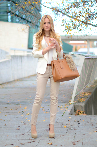 oh my vogue jacket t-shirt pants shoes bag belt jewels nude nude high heels beige beige jacket beige pants blonde hair brown brown bag fur white top