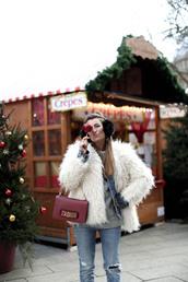b a r t a b a c,blogger,jacket,jeans,top,shoes,bag,sweater,dior bag,fuzzy coat,denim jacket,ear warmers,earmuffs,winter outfits