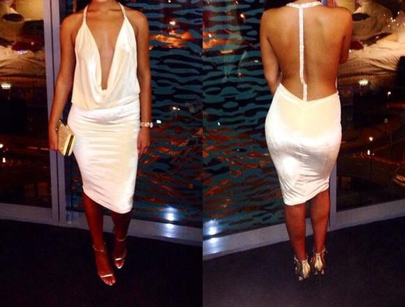 dress backless white plunge
